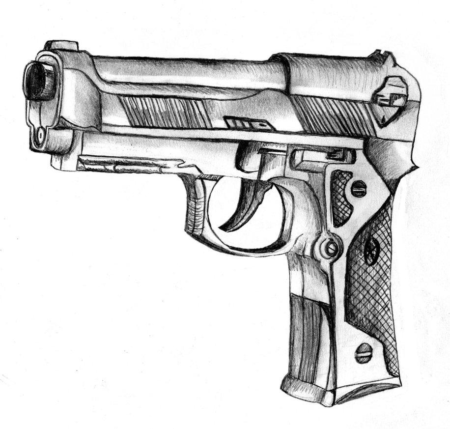 Drawn pistol sketch Cool gun Guns Drawings Cool