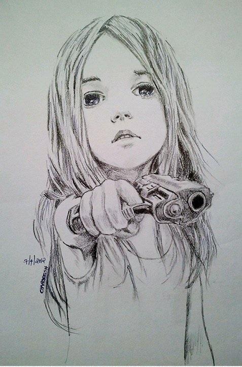 Drawn pistol sketch Pinterest  sketch Girl little