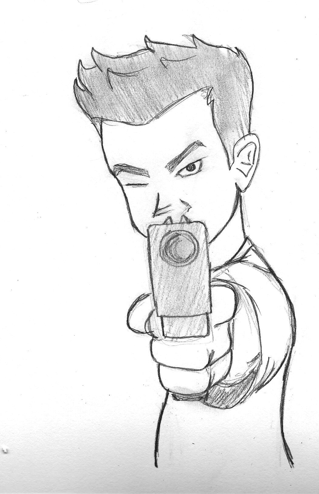 Drawn pistol sketch I find game was Kotaku