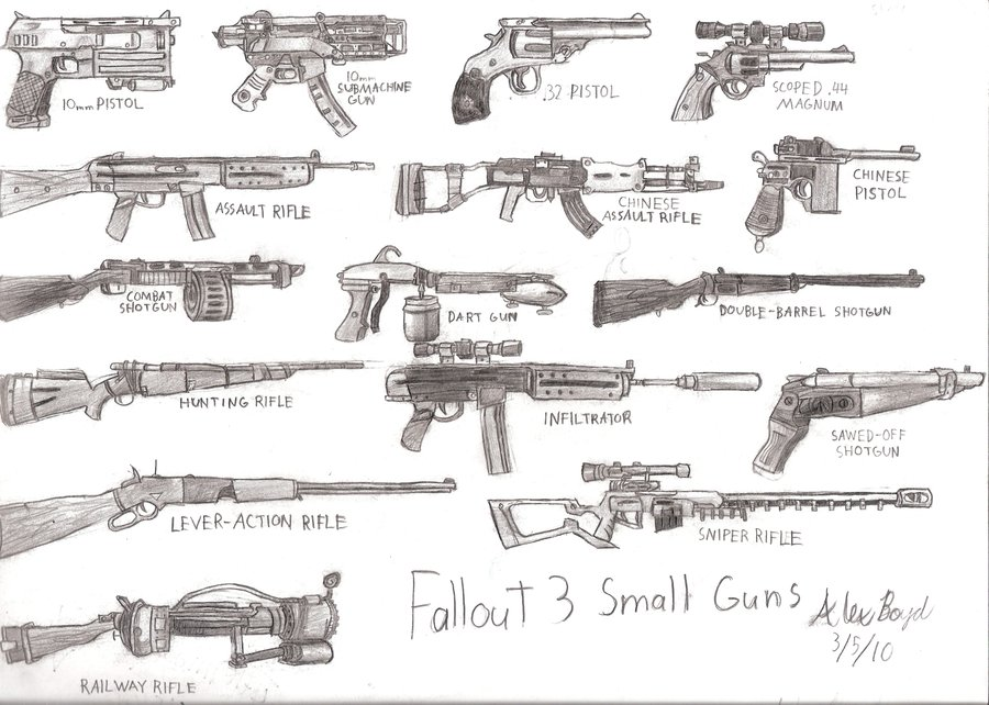 Drawn pistol small gun #13