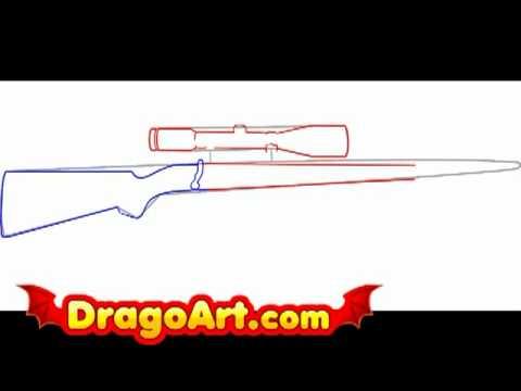 Drawn pistol sniper gun Step by step to step