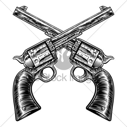 Drawn pistol standard Revolvers · Six Woodcut Stock