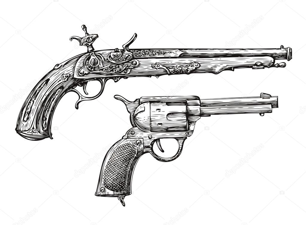 Drawn pistol standard Vector Gun sketch a sergeypykhonin