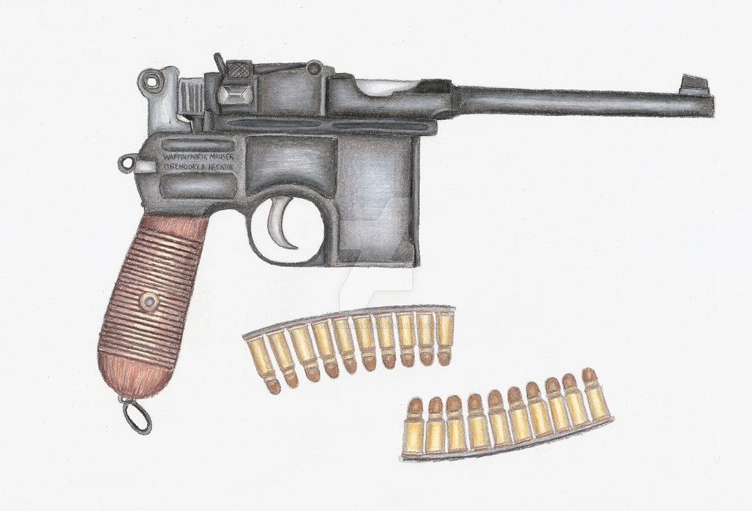 Drawn pistol standard On C/96 Prismacolor done Mauser