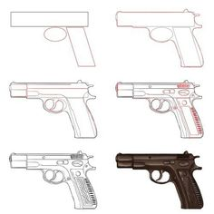 Drawn pistol step by step On draw to a Step