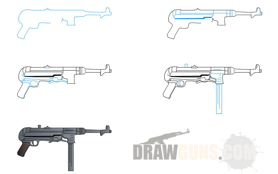 Drawn pistol step by step  By Drawings Step Step