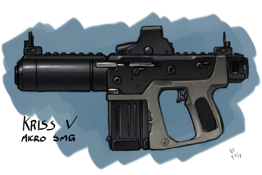Drawn pistol submachine gun Machine Gun by Sub Gun