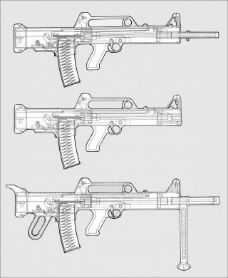 Drawn pistol submachine gun Drawing 56x45mm short the board