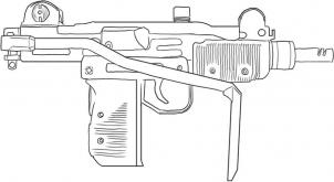 Drawn pistol submachine gun Drawing Draw Machine machine Gun