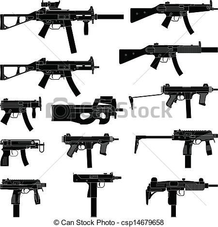 Drawn pistol submachine gun Drawing  Gun Uzi
