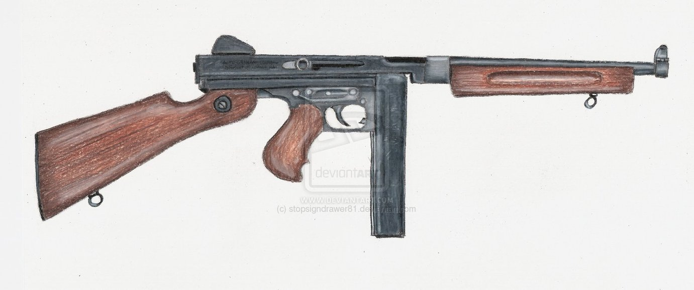 Drawn pistol submachine gun By stopsigndrawer81 on Gun stopsigndrawer81