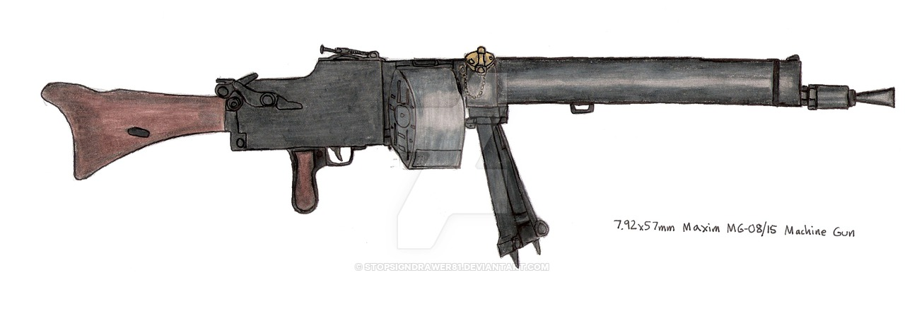 Drawn pistol submachine gun 08/15 a 08/15 German drawing