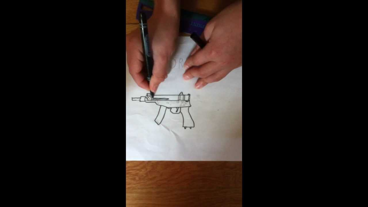 Drawn pistol submachine gun Skorpion To A Gun A