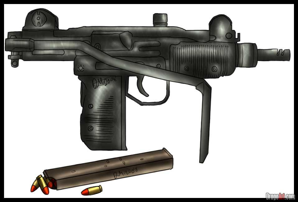 Drawn pistol submachine gun A uzi sub a Machine