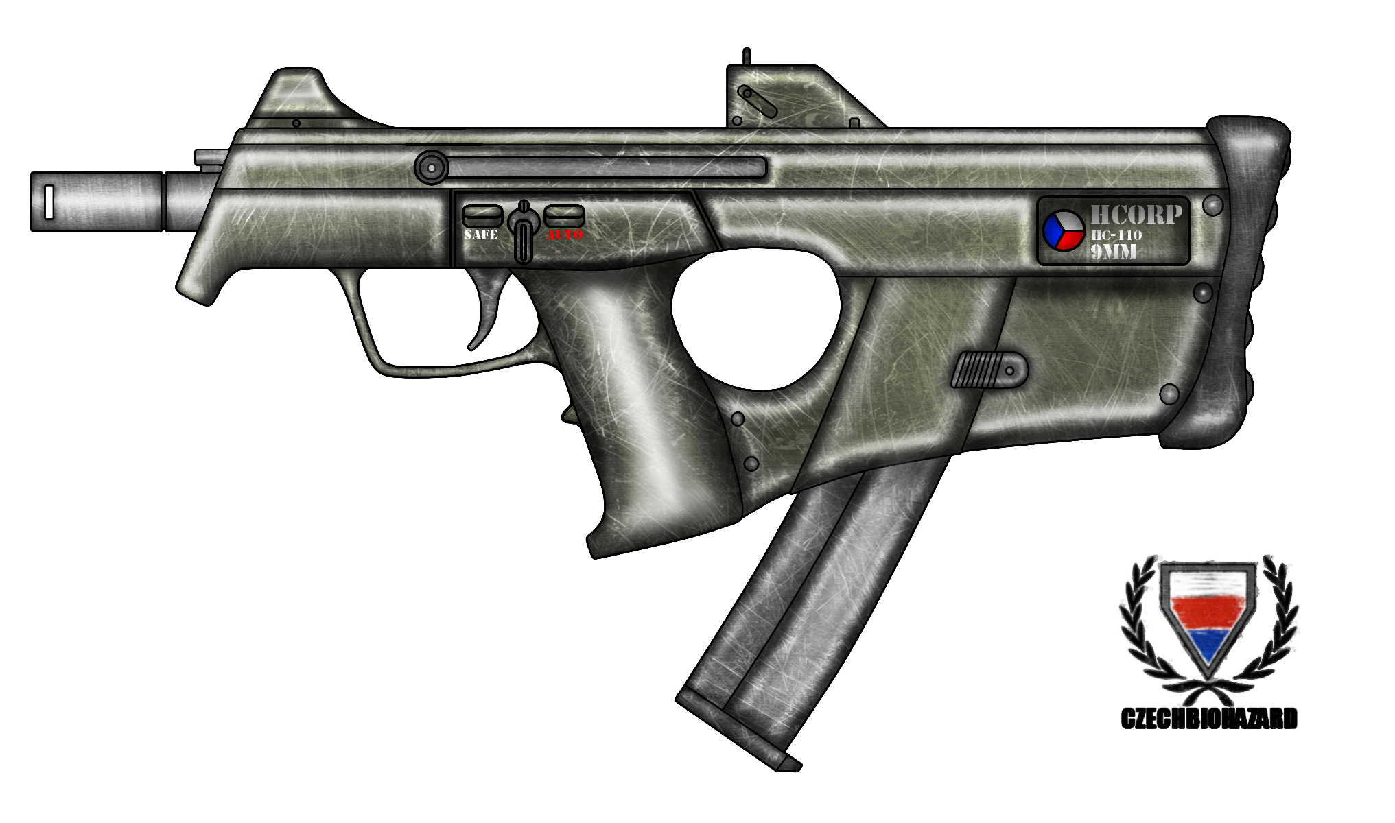Drawn pistol submachine gun 110 Submachine Gun HC Submachine