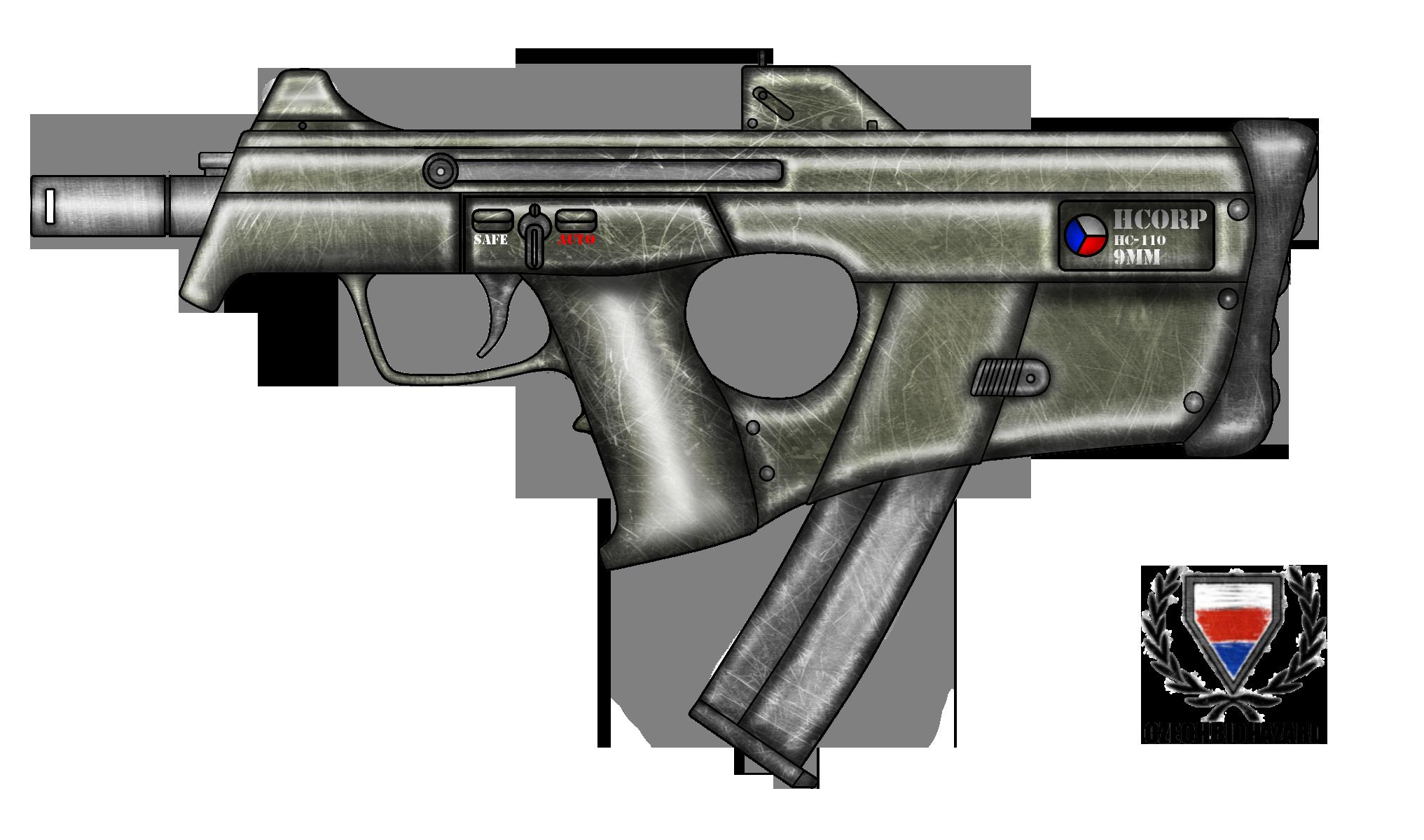 Drawn pistol submachine gun 110 Fictional HC by HC