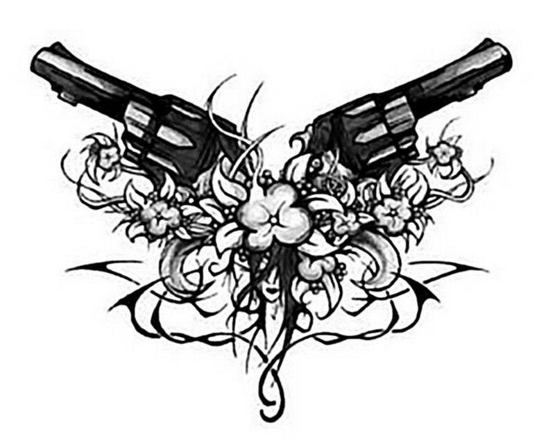 Drawn pistol tribal Flowers ink and wth tattoo