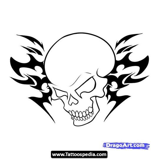 Drawn pistol tribal And Pistol Skull Tribal Tattoo
