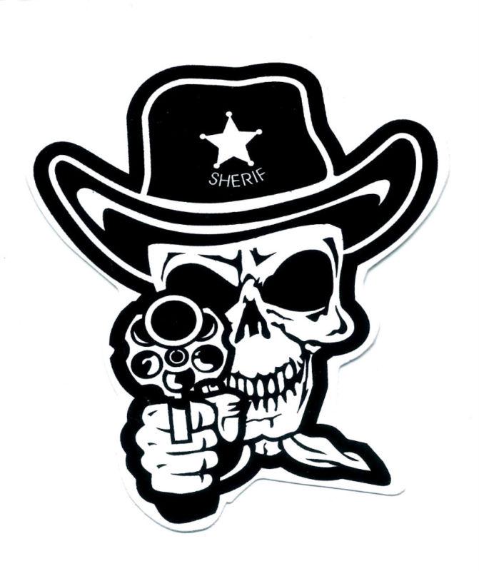 Drawn pistol tribal Punk skull control Sticker Gun