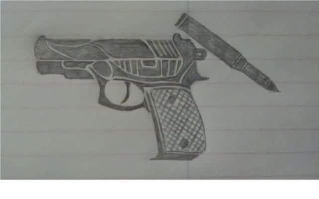 Drawn pistol tribal N Tattoobite Tattoo Drawing Gun