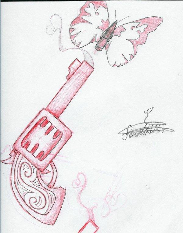 Drawn pistol tribal N Tattoobite Tattoo Drawing Butterfly