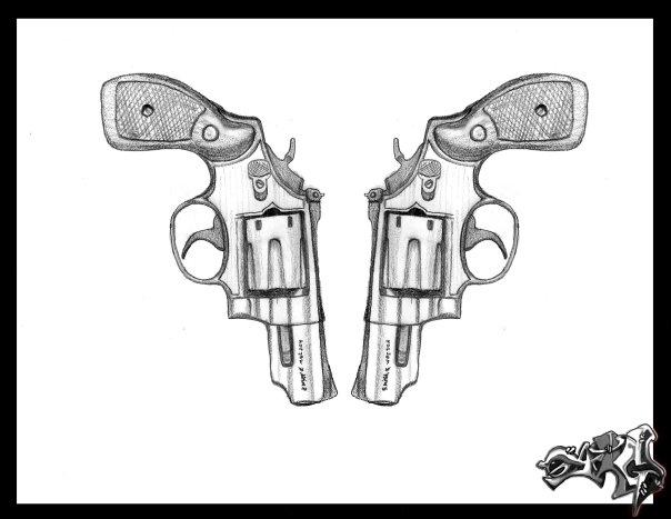 Drawn pistol tribal Famine famine a but Pistol