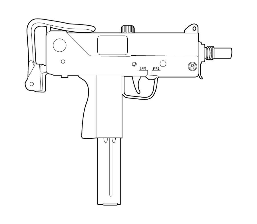Drawn pistol uzi 10 Coloring art Ingram Drawings