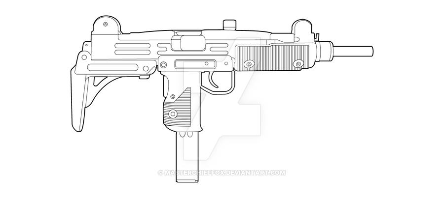 Drawn pistol uzi Favourites on Guns Line by