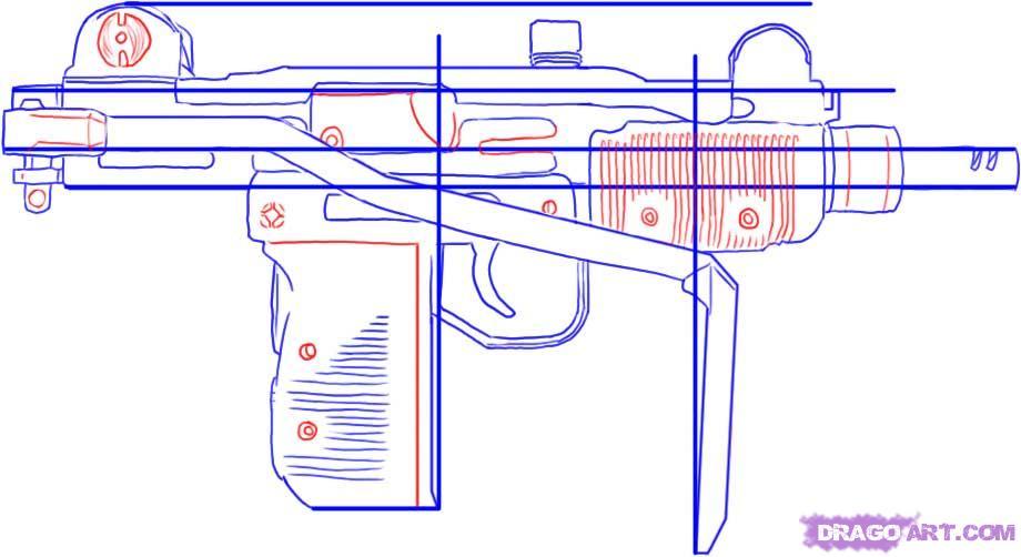 Drawn pistol uzi Uzi Mini Draw Sub a