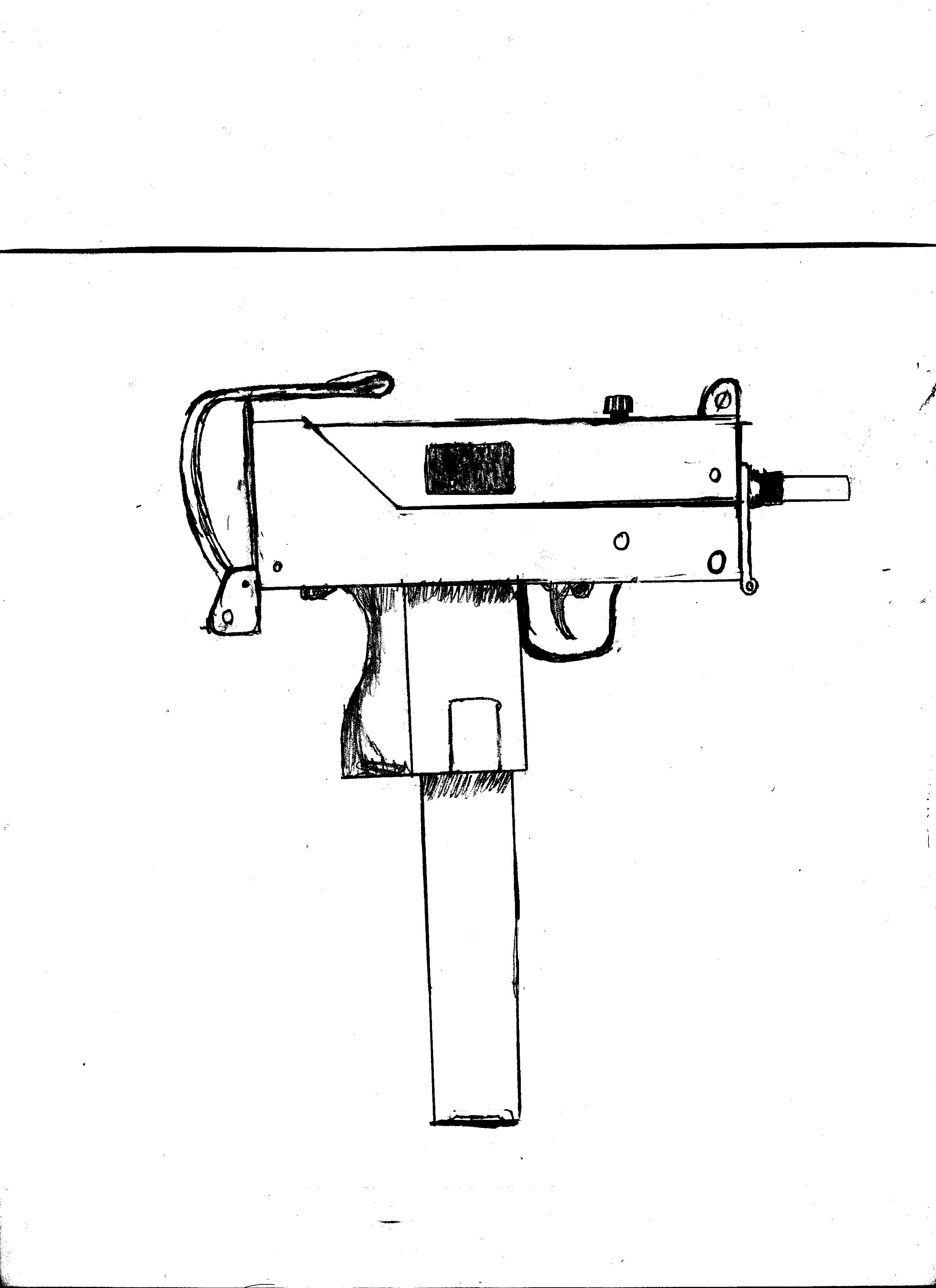 Drawn pistol uzi Drawing Gun Drawing Gun Uzi
