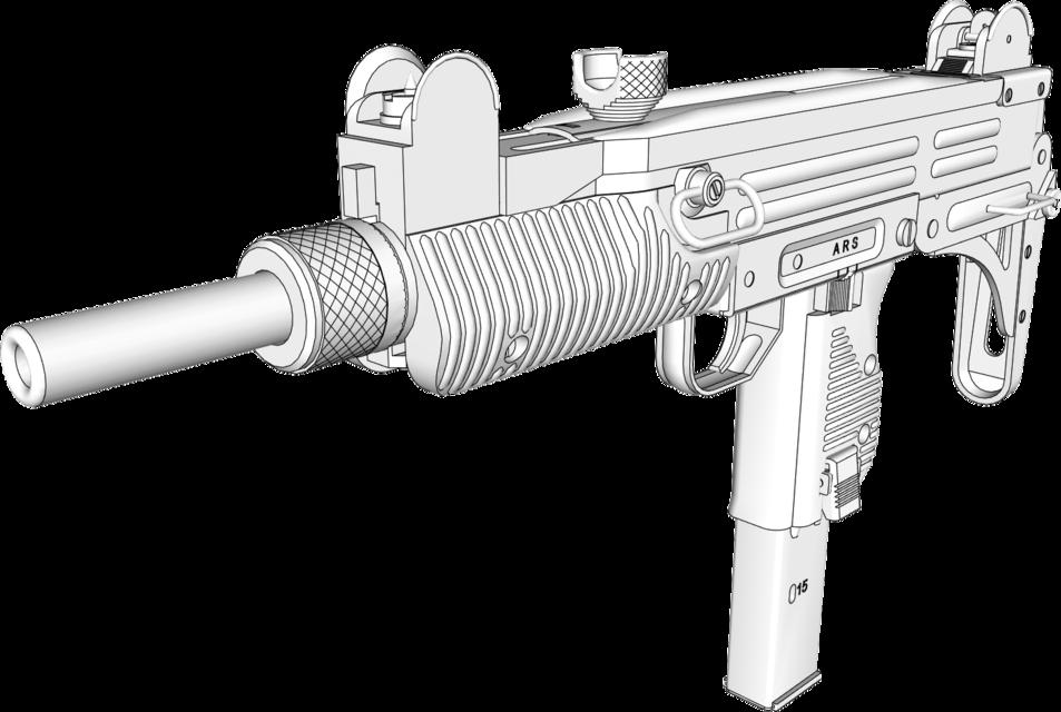 Drawn pistol uzi 9mm CAD Uzi submachine SketchUp