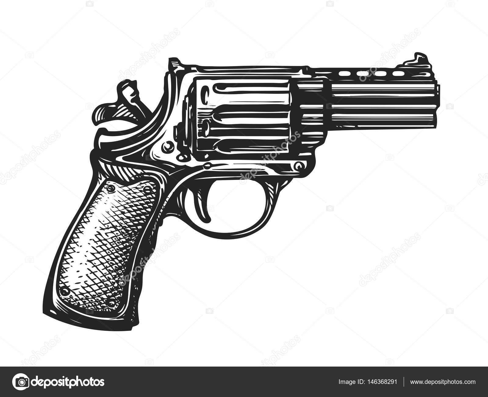 Drawn pistol vintage Illustration — Vintage vector drawn