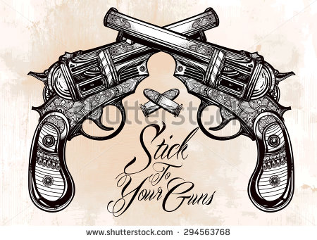 Drawn pistol vintage Style with bullets vintage drawn