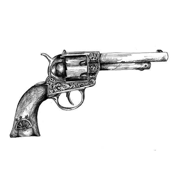 Drawn pistol vintage Behance on Drawing: Revolver Pen