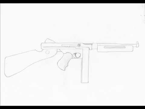Drawn pistol war gun Draw thompson SMG to thompson
