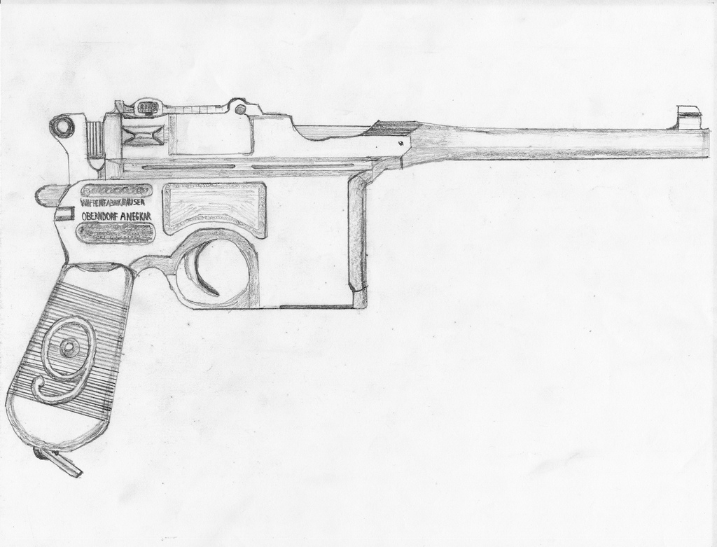 Drawn pistol ww1 gun C96 draw Flickr a wanting