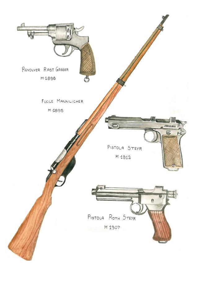 Drawn pistol ww1 gun Austro on by individual by