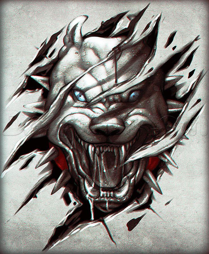 Drawn pitbull wolf Draw Step Step a 32