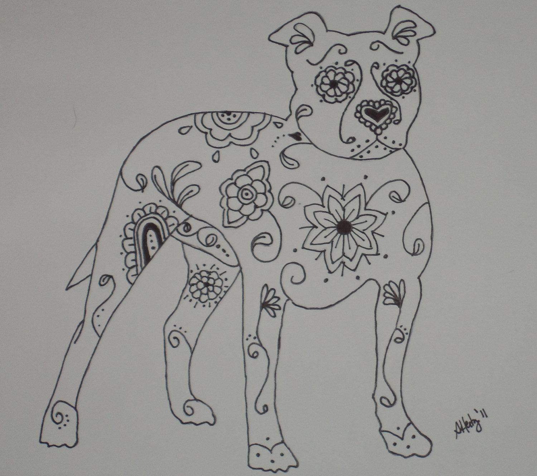 Drawn pit bull skull Pit American Pit 9x12 Terrier