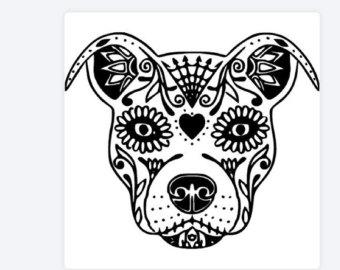 Drawn pit bull skull Etsy Skull Vinyl CAR pitbull