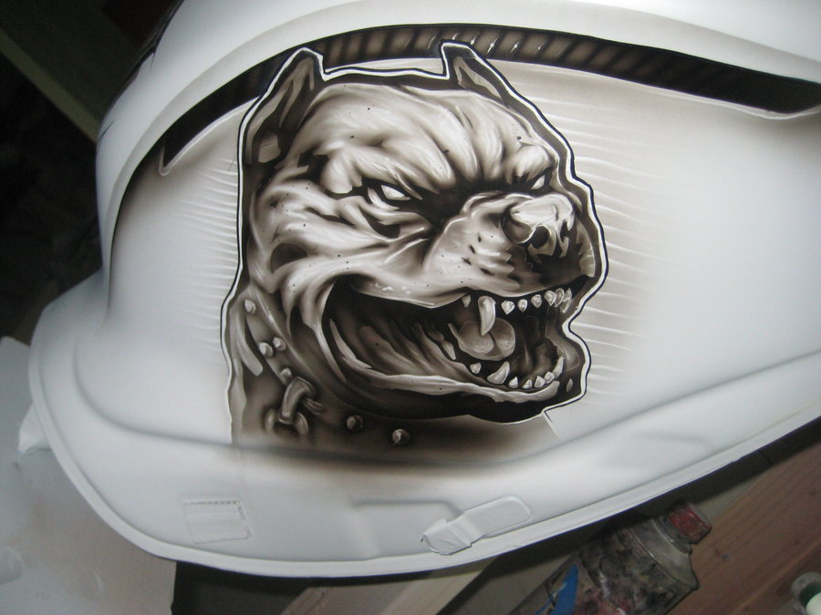 Drawn pit bull skull For gixxer by on 2