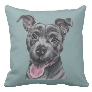 Drawn pitbull spoiled Throw Pillow Decorative Bull Throw
