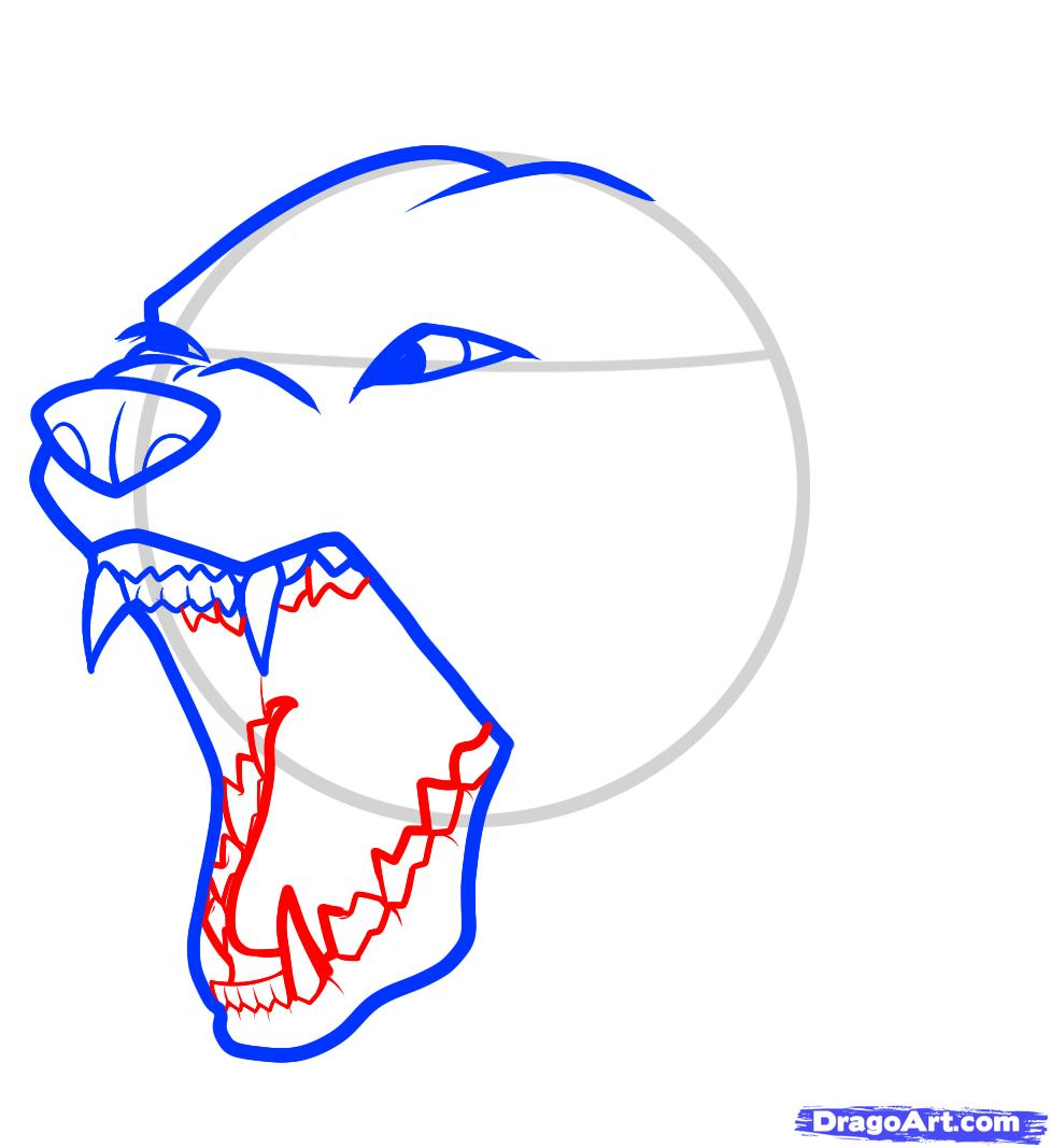 Drawn pitbull wolf  draw step angry an