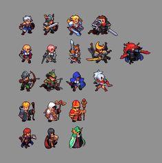 Drawn pixel art 32 bit Hero com Snake com Knight