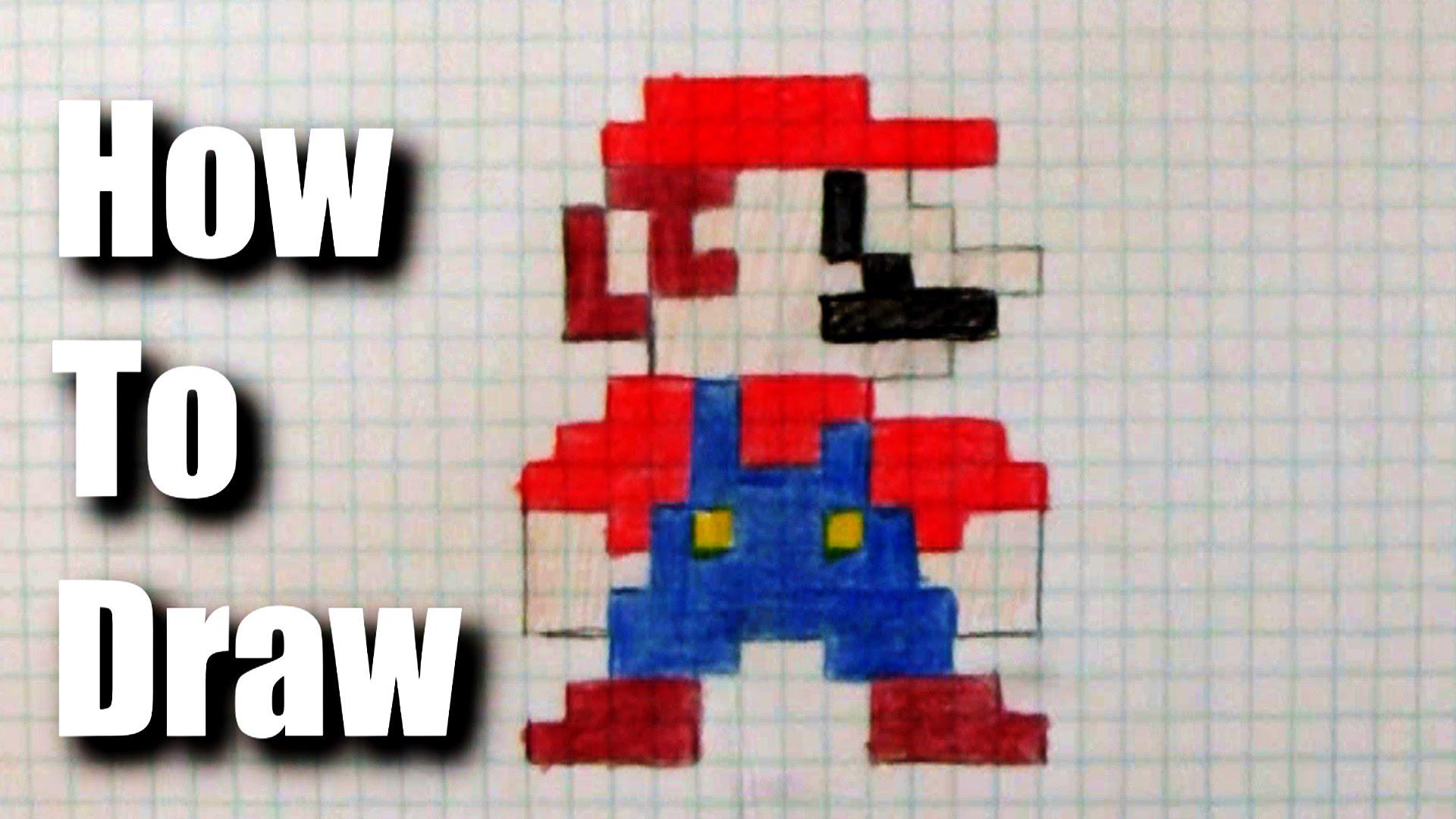 Drawn pixel art 8 bit To  Mario draw 8