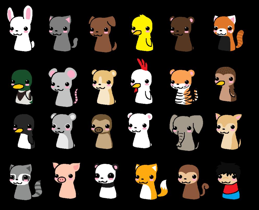 Drawn pixel art anime chibi To Images Animals Draw