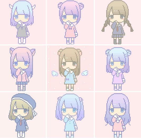 Drawn pixel art anime chibi Color pink lilac chibi Anime