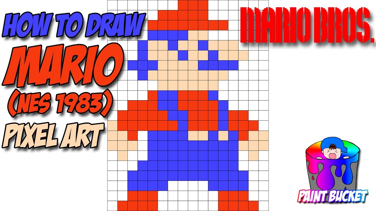 Drawn pixel art arcade Mario Pixel Drawing Mario Drawing