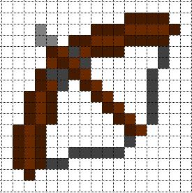 Drawn pixel art bow and arrow Bow Pixel Minecraft Templates: Arrow