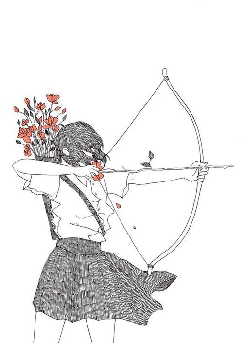 Drawn pixel art bow and arrow Image Elle magnifique rustique est